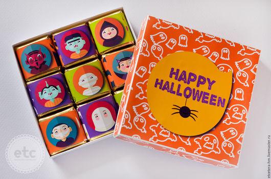 """Подарки на Хэллоуин ручной работы. Ярмарка Мастеров - ручная работа. Купить Шоко-бокс. Шоколадный набор на """"Halloween"""". Handmade. Бежевый"""
