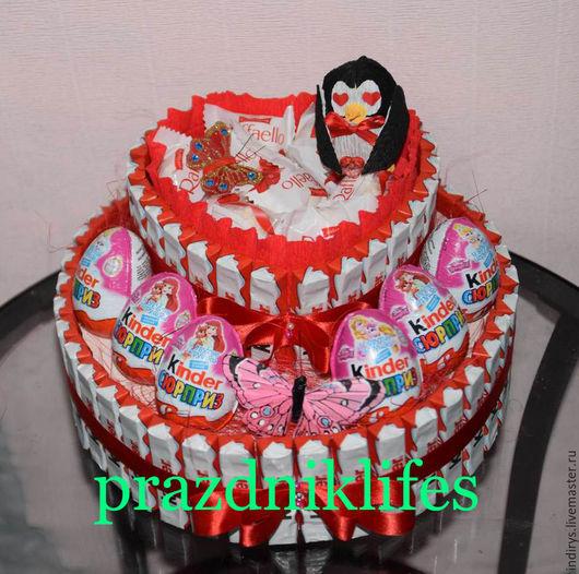 Персональные подарки ручной работы. Ярмарка Мастеров - ручная работа. Купить Романтический торт киндер с пингвином, подарок любимой девушке. Handmade.
