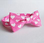 Аксессуары handmade. Livemaster - original item Tie Love Story / butterfly tie pink with hearts. Handmade.