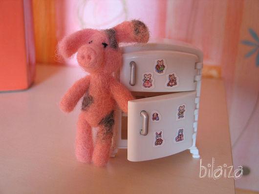 Игрушки животные, ручной работы. Ярмарка Мастеров - ручная работа. Купить розовый Хрюн. Handmade. Поросенок, шерсть крашеная Эстония