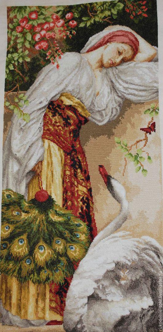 """Люди, ручной работы. Ярмарка Мастеров - ручная работа. Купить """"Девушка с лебедем"""". Handmade. Комбинированный, подарок девушке, картина в подарок"""