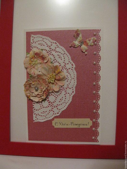 Открытки для женщин, ручной работы. Ярмарка Мастеров - ручная работа. Купить Розовая нежность. Handmade. Коралловый, Открытка ручной работы