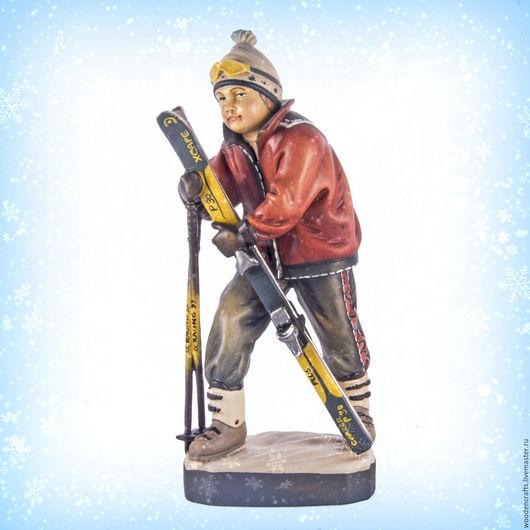 Персональные подарки ручной работы. Ярмарка Мастеров - ручная работа. Купить Мальчик-лыжник из дерева. Handmade. Комбинированный, спортсмен