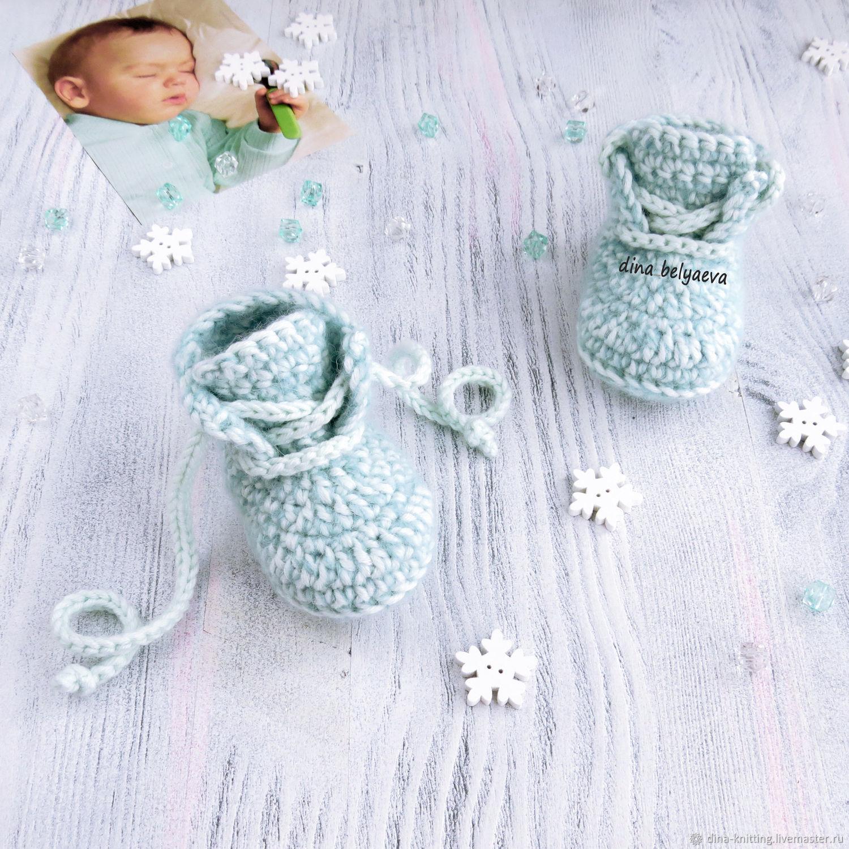 b5a17719e Заказать Зимний вязаный комплект шапочка и пинетки для мальчика серый · Для  новорожденных, ручной работы. Ярмарка Мастеров - ручная работа. Купить ...