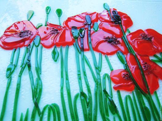 """Картины цветов ручной работы. Ярмарка Мастеров - ручная работа. Купить Картина из стекла """"Маки"""". Фьюзинг.. Handmade. Ярко-красный"""
