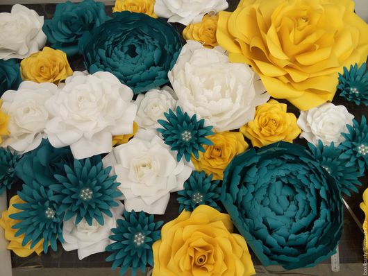 Свадебные аксессуары ручной работы. Ярмарка Мастеров - ручная работа. Купить Ассорти из больших бумажные цветов. Handmade. Бумажные цветы