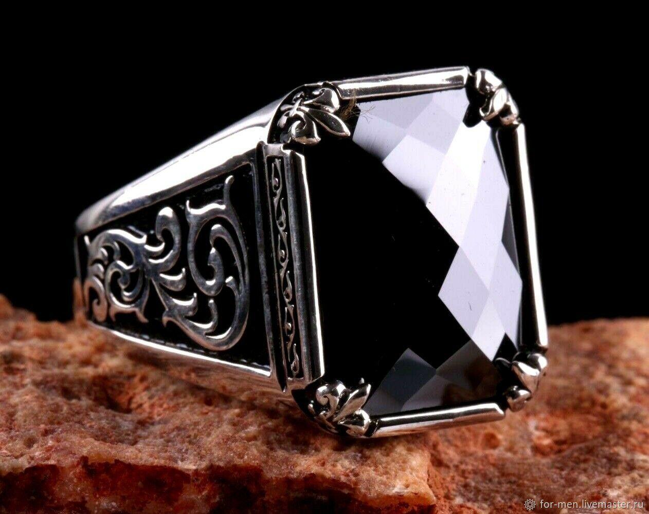 Гранёный зеркальный чёрный оникс в серебре, Перстень, Москва,  Фото №1