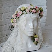 Украшения ручной работы. Ярмарка Мастеров - ручная работа Венок на голову из цветов роз для невесты. Цветы из шелка. Handmade.