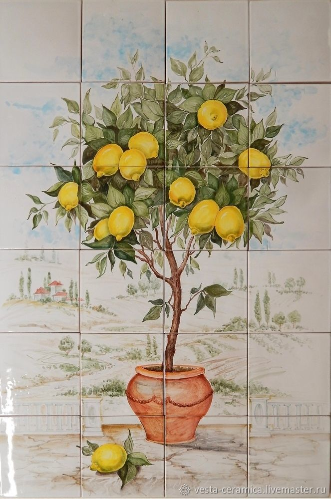 Ceramic panel 'the Lemon tree', Pictures, Moscow,  Фото №1