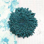 Украшения handmade. Livemaster - original item Brooch Astra dark blue leather. Handmade.