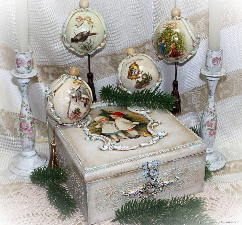 Набор елочных винтажных шаров в шкатулке Рождество, Елочные игрушки, Фролово,  Фото №1