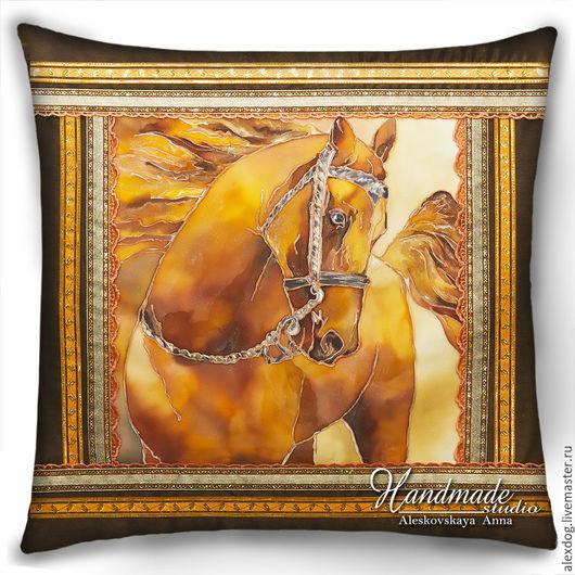 """Животные ручной работы. Ярмарка Мастеров - ручная работа. Купить Декоративная подушка-батик  """"Рыжий конь """". Handmade. Рыжий"""
