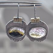 Украшения handmade. Livemaster - original item Earrings with multicolored tourmaline, silver and brass. Handmade.