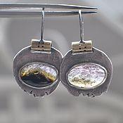 handmade. Livemaster - original item Earrings with multicolored tourmaline, silver and brass. Handmade.