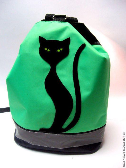 """Рюкзаки ручной работы. Ярмарка Мастеров - ручная работа. Купить Рюкзачок для тренировок """"Кошка"""" салатовый. Handmade. Ярко-зелёный, школа"""