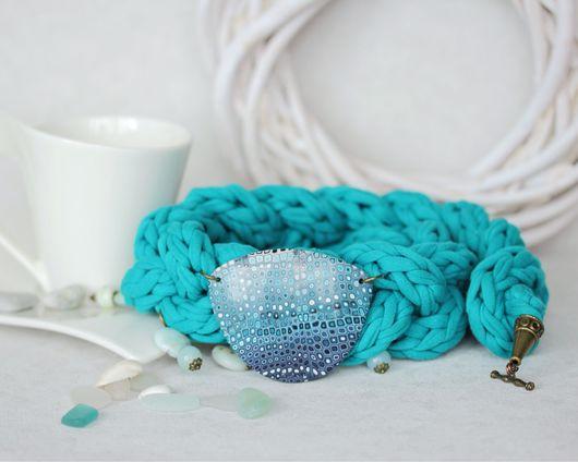 Колье, бусы ручной работы. Ярмарка Мастеров - ручная работа. Купить Колье вязаное с натуральными камнями. Handmade. Морская волна