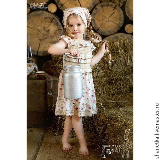 Одежда для девочек, ручной работы. Ярмарка Мастеров - ручная работа. Купить Платье летнее с платком из хлопка для девочки Лиана. Handmade.