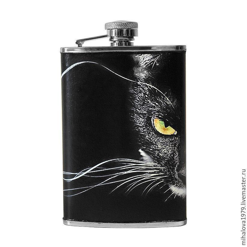 """Подарки для мужчин, ручной работы. Ярмарка Мастеров - ручная работа. Купить Фляжка """"Кошачий взгляд"""". Handmade. Кот, фляга"""