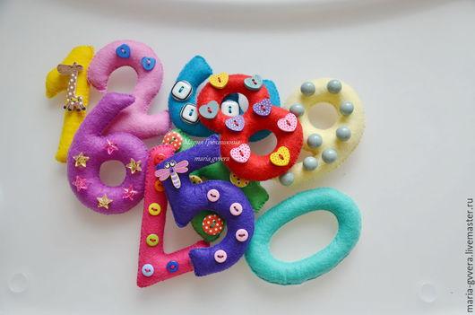Развивающие игрушки ручной работы. Ярмарка Мастеров - ручная работа. Купить Цифры из фетра. Handmade. Разноцветный, игрушки для детей
