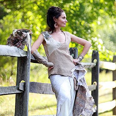 Одежда ручной работы. Ярмарка Мастеров - ручная работа войлочная юбка с запАхом двусторонняя с шелком. Handmade.