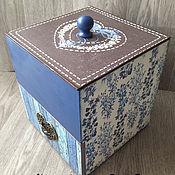 Для дома и интерьера ручной работы. Ярмарка Мастеров - ручная работа мини комод короб для хранения Синий винтаж декупаж. Handmade.