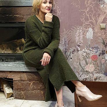 Одежда ручной работы. Ярмарка Мастеров - ручная работа Платья: Green альпака шерсть. Handmade.