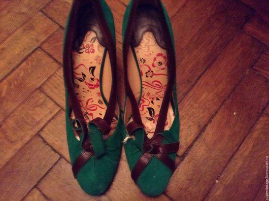 Винтажная обувь. Ярмарка Мастеров - ручная работа. Купить UNGARO замшевые туфли,оригинал. Handmade. Зеленый, фирменные туфли