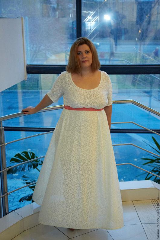 """Большие размеры ручной работы. Ярмарка Мастеров - ручная работа. Купить """"Рефлекс"""" - платье для смелой красавицы!. Handmade. Белый, красота"""