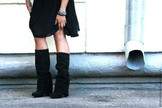 Обувь ручной работы. Ярмарка Мастеров - ручная работа. Купить Сапоги замшевые с закрытым каблуком. Handmade. Сапоги, спилок