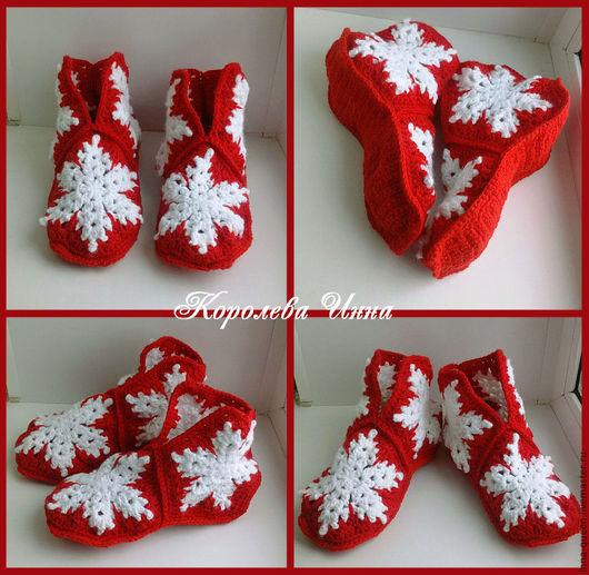 Обувь ручной работы. Ярмарка Мастеров - ручная работа. Купить тапочки домашние вязаные Снежинки. Handmade. Тапочки, тапочки женские