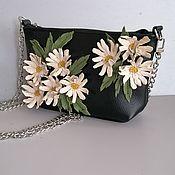 Сумки и аксессуары handmade. Livemaster - original item Leather bag .Bag with applique.Mini Daisies Black. Handmade.