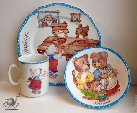 """Сервизы, чайные пары ручной работы. Ярмарка Мастеров - ручная работа. Купить детский гарнитур """"Три медведя"""". Handmade."""