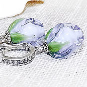 Украшения handmade. Livemaster - original item Lavender buds - earrings lampwork. Handmade.