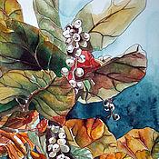 """Картины ручной работы. Ярмарка Мастеров - ручная работа Картина акварель, синий, зелёный, оранжевый. """"Белые ягоды"""". Handmade."""