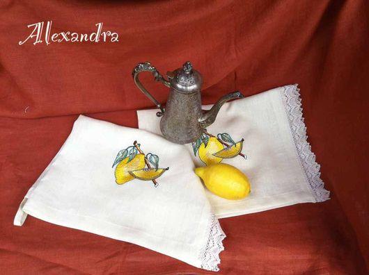 """Кухня ручной работы. Ярмарка Мастеров - ручная работа. Купить Полотенце кухонное """"Лимонное"""". Handmade. Лимон, лён"""