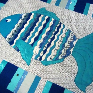 """Для дома и интерьера ручной работы. Ярмарка Мастеров - ручная работа Лоскутное одеяло """"синяя рыба"""". Handmade."""