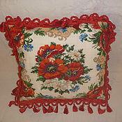 Для дома и интерьера ручной работы. Ярмарка Мастеров - ручная работа Маки в орнаменте декоративная наволочка. Handmade.