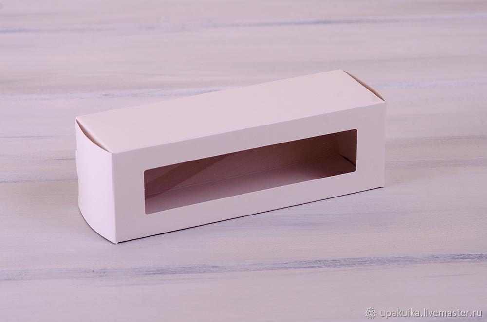 Коробка для макаронс на 6 шт, с прозрачным окошком (Арт. 0102004) Размер: 18,5х6х6 Материал: экологичный картон