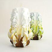 Подарки к праздникам ручной работы. Ярмарка Мастеров - ручная работа Резные свечи набор из 2 штук - зеленый коричневый голубой. Handmade.