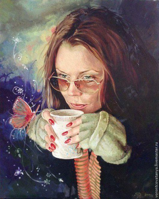 Люди, ручной работы. Ярмарка Мастеров - ручная работа. Купить Портрет с бабочкой. Handmade. Портрет, портрет по фото, портрет в подарок