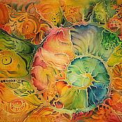 Картины и панно ручной работы. Ярмарка Мастеров - ручная работа Батик панно Ракушка 40х50. Handmade.