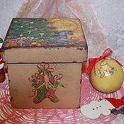 Для дома и интерьера ручной работы. Ярмарка Мастеров - ручная работа Короб для ёлочных украшений или подарка. Handmade.