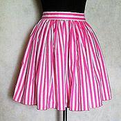 Одежда ручной работы. Ярмарка Мастеров - ручная работа Юбка летняя, короткая, из хлопка ,в полоску. Handmade.
