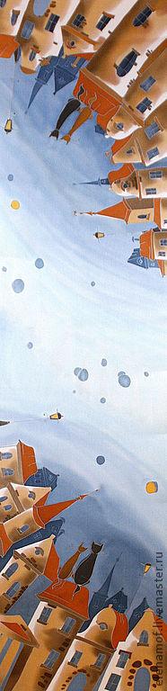 Шарфы и шарфики ручной работы. Ярмарка Мастеров - ручная работа. Купить Шёлковый шарф Свидание на крыше. Handmade. Шелк