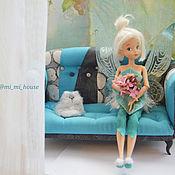 """Куклы и игрушки ручной работы. Ярмарка Мастеров - ручная работа Кукольный диван """"Незабудка"""". Handmade."""