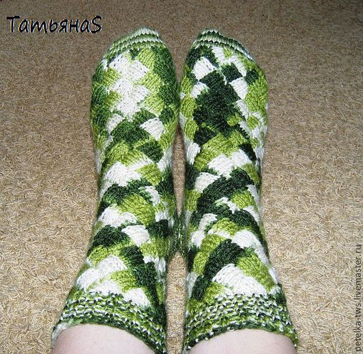 Носки, Чулки ручной работы. Ярмарка Мастеров - ручная работа. Купить Носки №5. Handmade. Зеленый, носки теплые