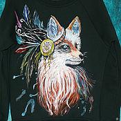 """Одежда handmade. Livemaster - original item Толстовка свитшот """"Индейская лиса"""" ручная роспись. Handmade."""