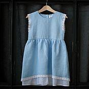 Одежда детская handmade. Livemaster - original item Linen blue dress for girls Molly. Handmade.