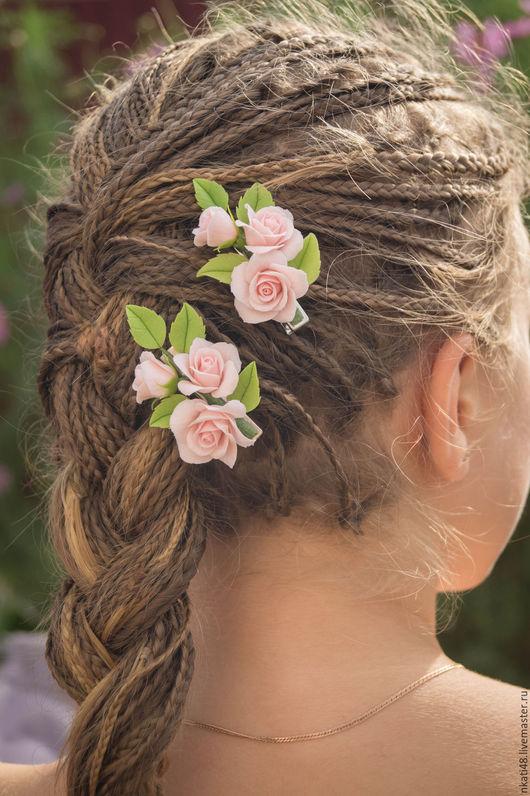Заколки ручной работы. Ярмарка Мастеров - ручная работа. Купить Зажим с розами. Handmade. Бледно-розовый, зажим для волос