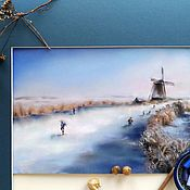 Картины и панно handmade. Livemaster - original item Painting pastel Winter Holland (winter landscape mill). Handmade.